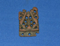 "A pleasant and very ornately decorated Viking bronze ""Open work"" belt mount / strap end found in Norfolk. SOLD"